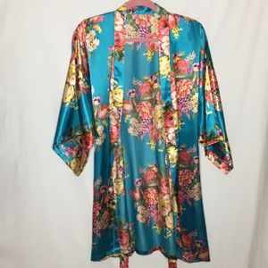 Other - Blue silky floral robe